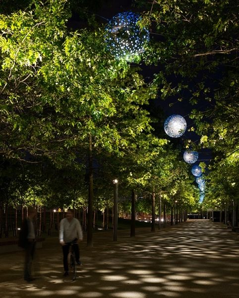 Landscape Lighting for Queen Elizabeth Olympic Park - Public realm lighting design scheme by Spiers + Major and delivered by Michael Grubb Studio. Follow us on Twitter & Instagram @mgrubbstudio or visit www.michaelgrubbstudio.com
