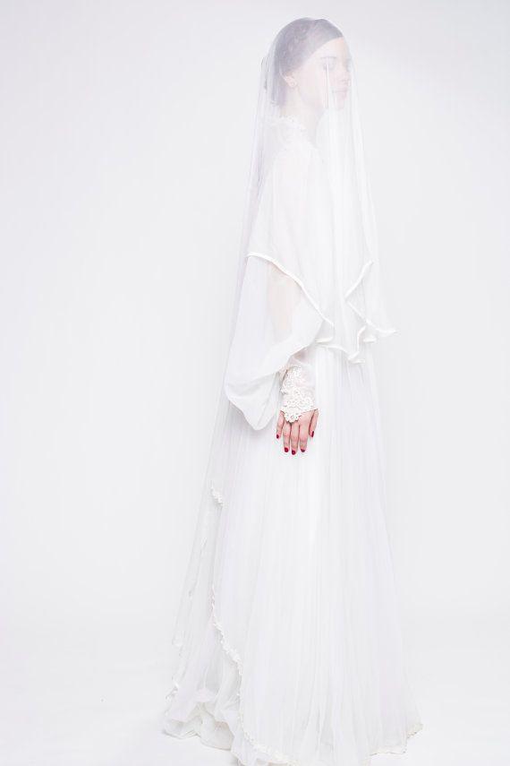 Balletto di seta Lunghezza 65 velo e fard Custom di UntamedBridal