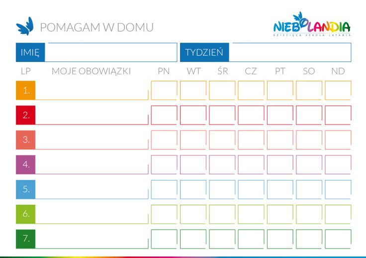 Tablica obowiązków domowych - Niebolandia