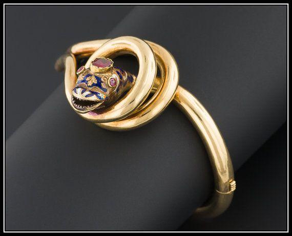 Antico Bracciale Snake | Bracciale serpente vittoriano | Granato & smalto Bracciale Snake | 18k oro antico braccialetto vittoriano | Raffinato bracciale