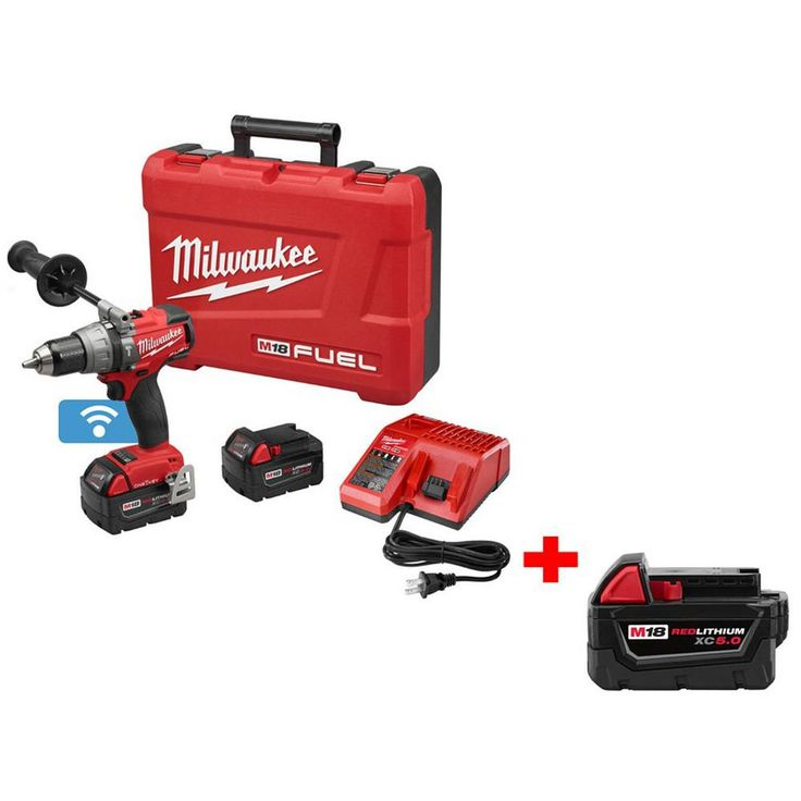 Milwaukee M18 Fuel 18-Volt with ONE-KEY 1/2 in. Brushless Hammer Drill/Driver with Free M18 18-Volt Lithium-Ion 5Ah XC Battery