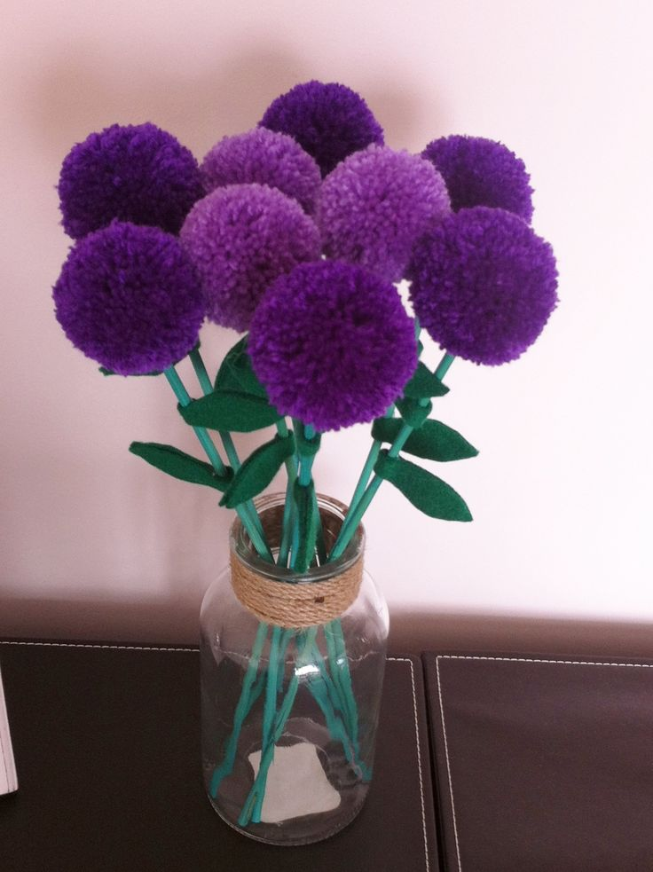 Purple pompom flowers in glass jar https://www.facebook.com/AndiesAccessories/photos/a.1075552895804758.1073741886.251860708173985/1087317431294971/?type=3&theater