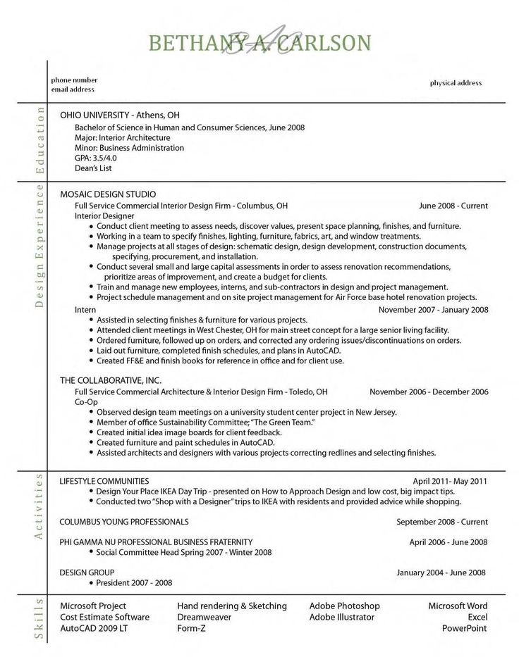 Not a fan of the layout - but it has some good info in it. What to put on a resume.