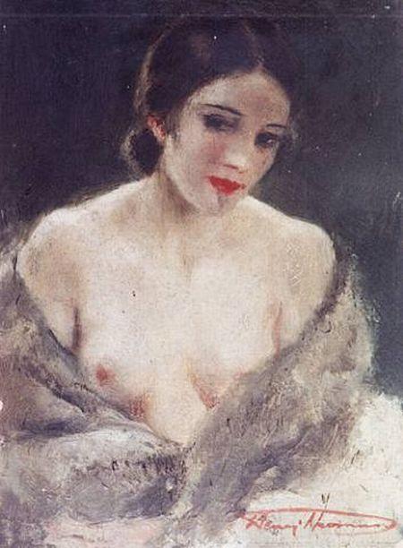 Henri Joseph Thomas (Belgian painter, 1878-1972), Nude in fur Stole