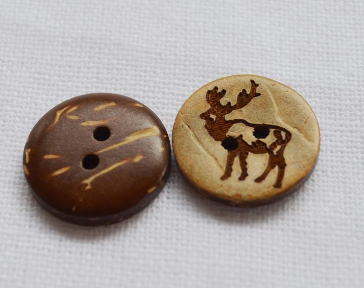 """Set of 6 x 18mm (6/8"""") coconut shell buttons with rustic elk deer pattern by yourbuttonshop on Etsy"""