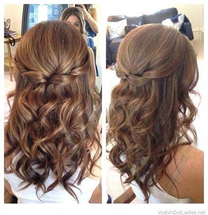 Half Up Half Down Hair with Curls Prom Hairstyles for Medium Length Hair #Brid