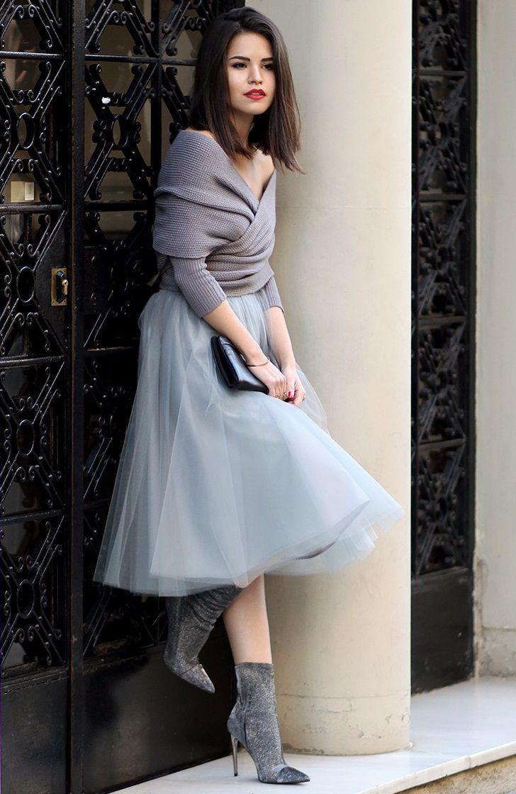 модный цвет сезона ледяной серый, модные вещи весна лето, вязаная мода весна лето 2015, модные тренды весна лето 2015, уличная мода весна лето, street style, MsKnitwear, Knitwear, вязаная накидка, пышная юбка из тюля (фото 11)
