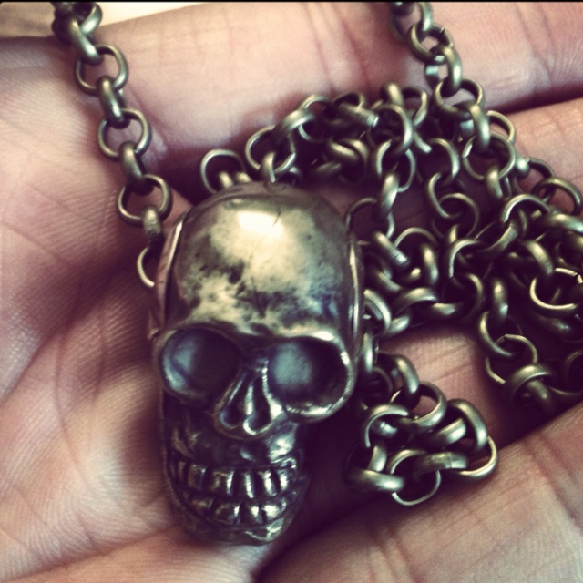 Brass skull necklace - craftsmanship by #LorenzoNoccioli.