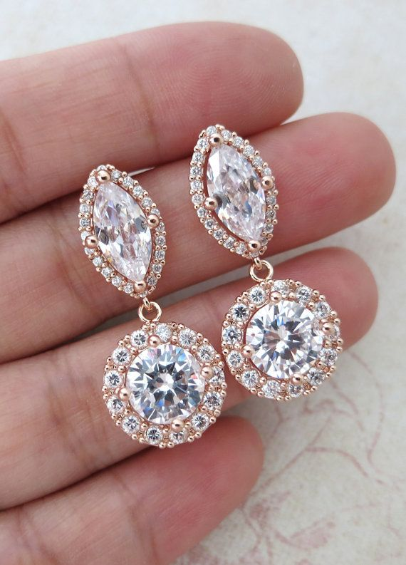 Deluxe Rose Gold Cubic Zirconia Halo style Navette Teardrop dangle Earrings, Bridal Cubic Zirconia earrings, Classic Hollywood, by ColorMeMissy, www.colormemissy.com