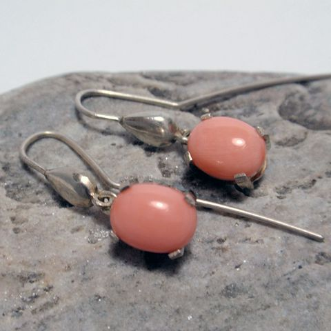 Silver Drop Earrings with Coral – Unio Goldsmith