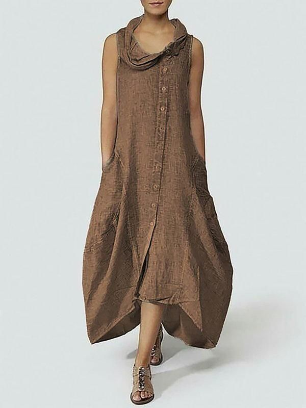 Women Sleeveless Loose Pocket Linen Dress Plus Size Summer Holiday Sundress Hot