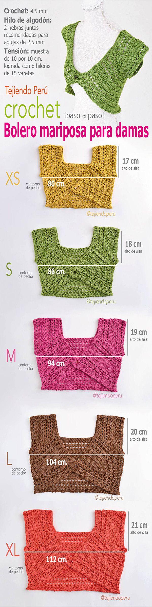 #Crochet: bolero mariposa para damas tejidos a crochet en 5 tallas! Paso a paso…