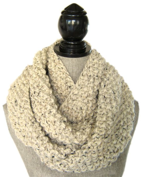 Knit Infinity Scarf  Chunky Knit Cowl  Wool by SwaddleinCloth