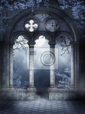 Fotobehang De ruïnes van een gotische venster met blauwe klimop