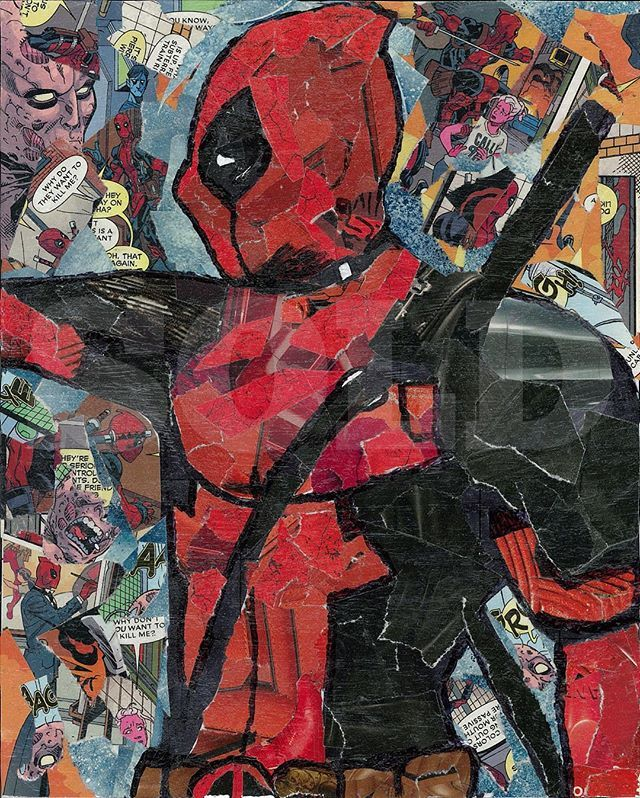 """Deadpool comic collage"" now available. Etsy.com/Shop/ImmortalNerd"