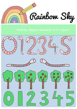 Teaching the numbers 0 - 5 or a mini beasts theme? With a total of 64 pieces in the set it includes: •Numbers 0 - 5 shaped as worms  •Apples withs 0 - 5 worms  •Block numbers 0 - 5  •Apples trees with 0 - 5 apples  •Numbers 0 - 5 in eaten apples •2 worms  All graphics come with black line originals, as shown. All .PNG files saved at 300 dpi for clear printing, with transparent backgrounds. For personal or commercial use ~ Rainbow Sky Creations ~