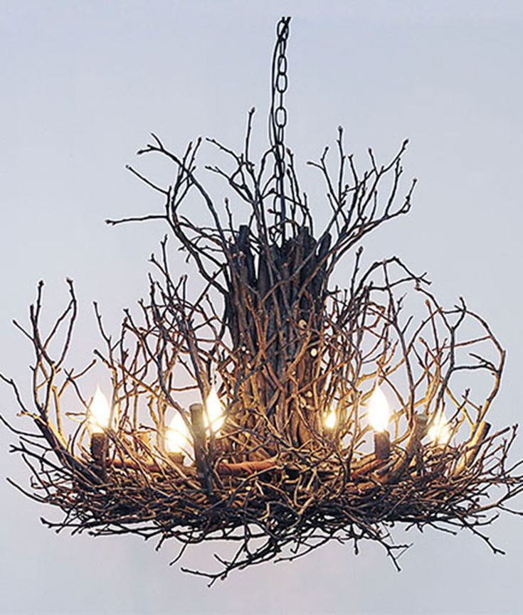 """Chandelier made of real hickory twigs, 3 sizes: 24"""", 30"""", 36"""" diameter. Custom long tapered bulbs. Very unique branch light fixture for a rustic touch."""