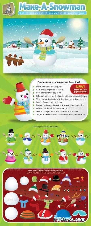 Vector Snowman Creation Pack 761167