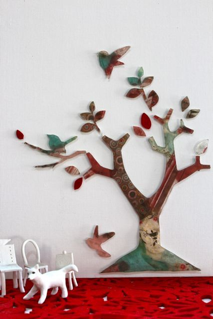 Resin tree and resin birds backed with beautiful paper on a white stretched canvas board by TheFlightyFlamingo on Etsy