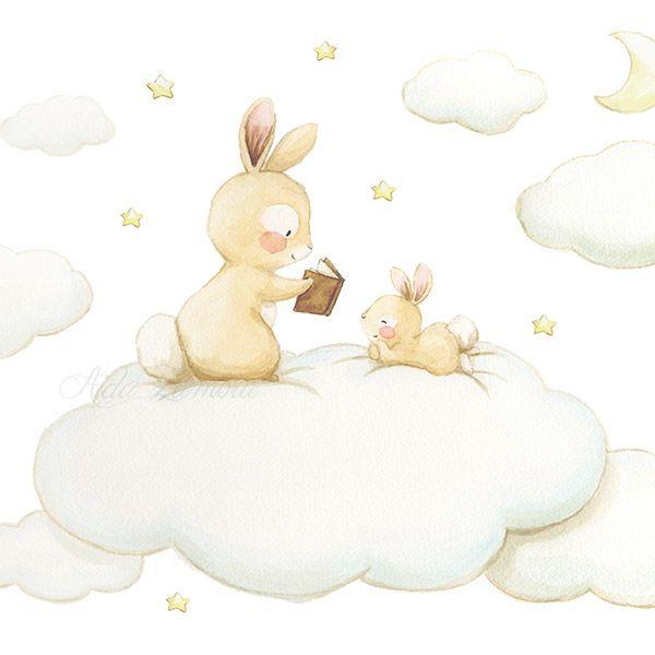 Ilustración conejo contando un cuento