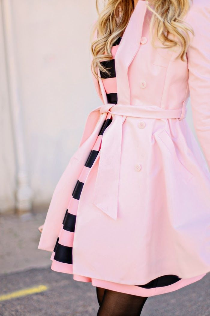 Pink and Navy Striped Dress