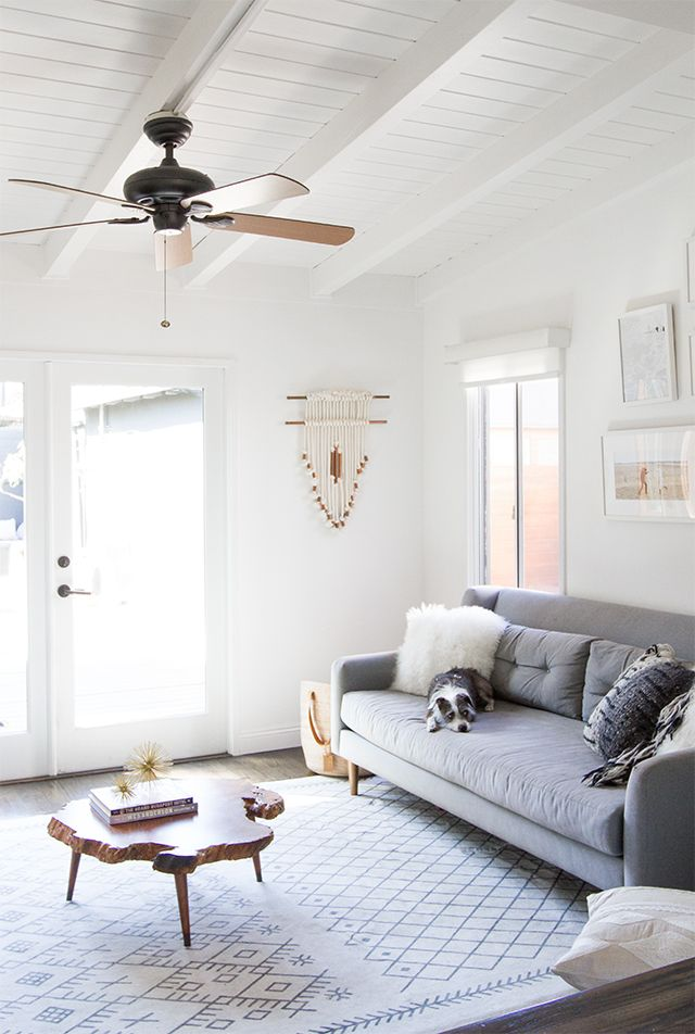 Check out the before and after of this DIY modern living room makeover from  Sarah @