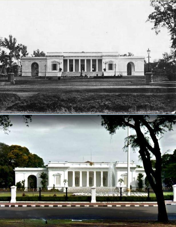 Paleis van de gouverneur-generaal aan het Koningsplein te Batavia, ca 1880, ,.,Istana Merdeka, jl Merdeka Utara, Jakarta, 2017