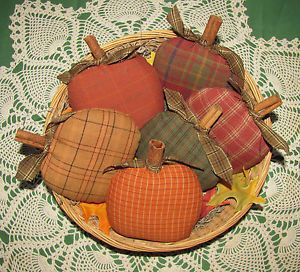 Ornies and Bowl Fillers | ... about Primitive Set of Fall Homespun Pumpkins Ornies/Bowl Fillers