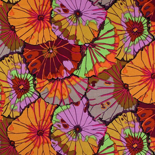 ROWAN - Lotus Leaf 5 - mix di colori - Anni settanta - Tessuti arredo con piante - Tessuti in cotone a fiori - Patchwork - Tessuti - Kaffe Fassett - Anni settanta - tessuti.com