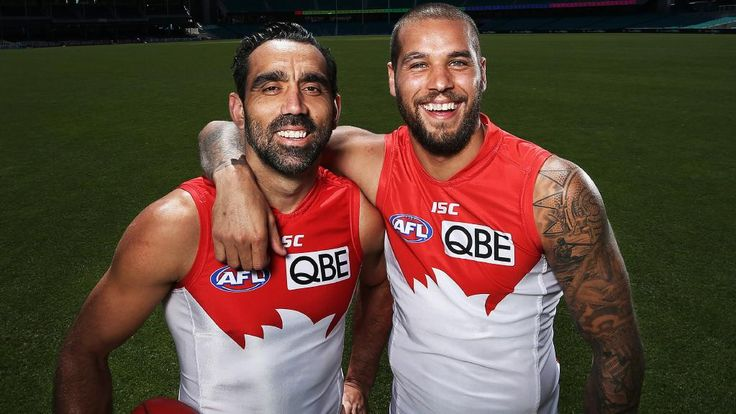 Lance Franklin with Adam Goodes during their time at the Swans together. Picture: Phil Hillyard