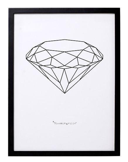 Bloomingville Lijst zwart hout met poster 'Diamond sketch' 30x40cm 14,95