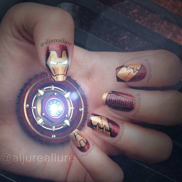 """Iron Man inspired mani! Really excited with how it turned out and about the premiere of """"Avengers: Age of Ultron."""""""
