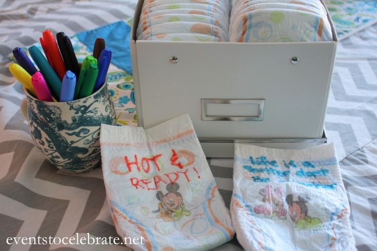 Baby Shower Games write on diapers and write question on card and next person writes answer on the back.