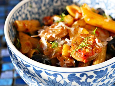 Whole wheat penne pasta with sausage, fennel, tomato and olives