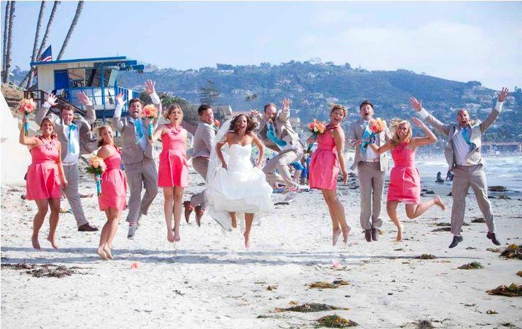 teal & coral beach wedding