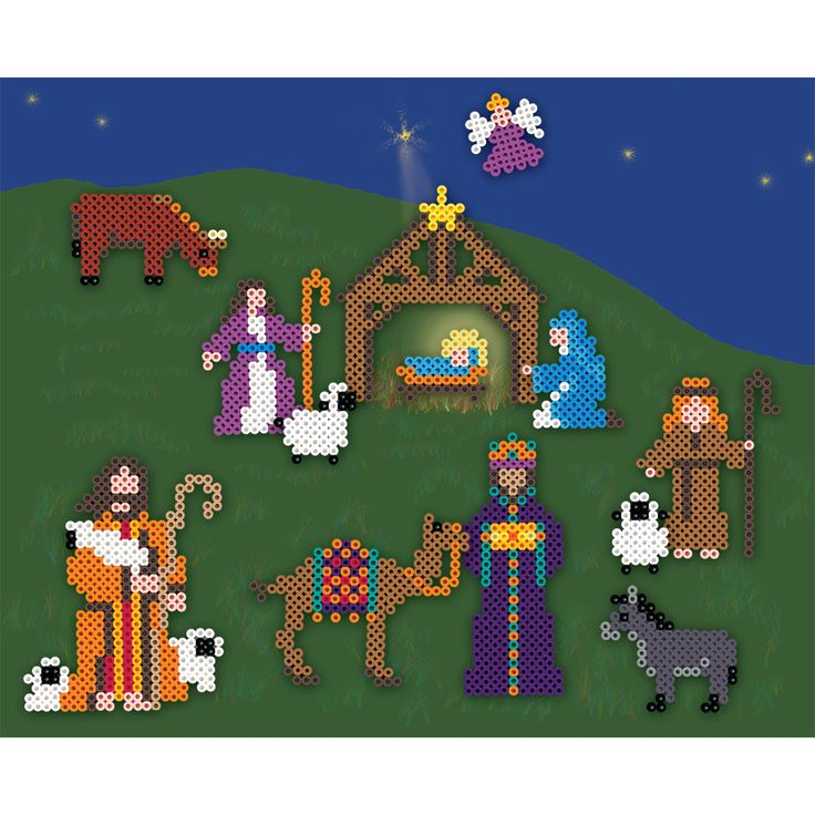 Create your own nativity scene in Perler Beads. You can paint a backdrop as we did and place the figures in your own arrangement. A great family project for the holidays!