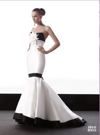 Черно-белые выпускные платья