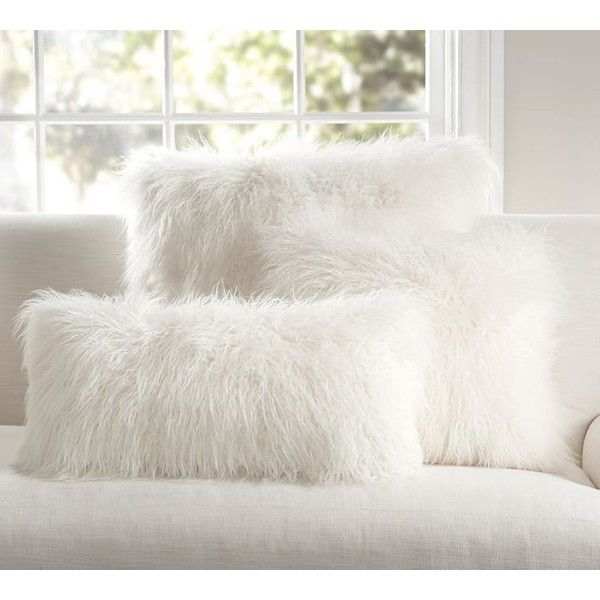 pottery barn mongolian faux fur pillow cover ivory 39 liked on polyvore