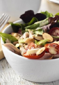 Garden-Fresh Turkey Salad with Dijon-Poppy Seed Dressing – Fresh tomatoes, salad greens and green onions get all dressed up with Dijon mustard, turkey and crunchy toasted almonds.