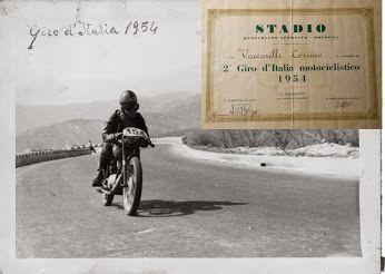 1954 Il giovane Cosimo Vaccarelli in sella alla sua Gilera 150 porta a termine il Motogiro d'Italia (8 tappe per un totale di 3.414 km, 1º assoluto Tarquinio Provini su Mondial) ricevendo attestato di classificazione