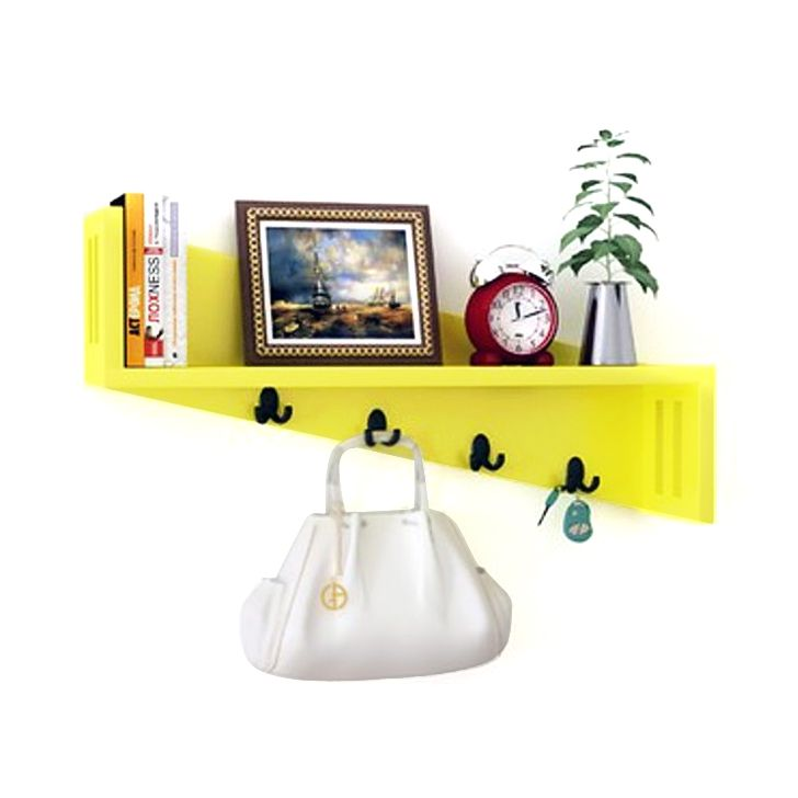 Home Sparkle Yellow Mango Wood Wall Shelf With Key Holder By Home Sparkle  Online   Wall Shelves   Home Decor   Pepperfry Product