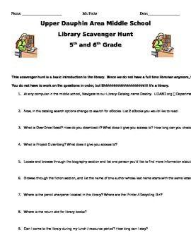 Middle School Library Scavenger Hunt by Daniel Frake | Teachers Pay Teachers