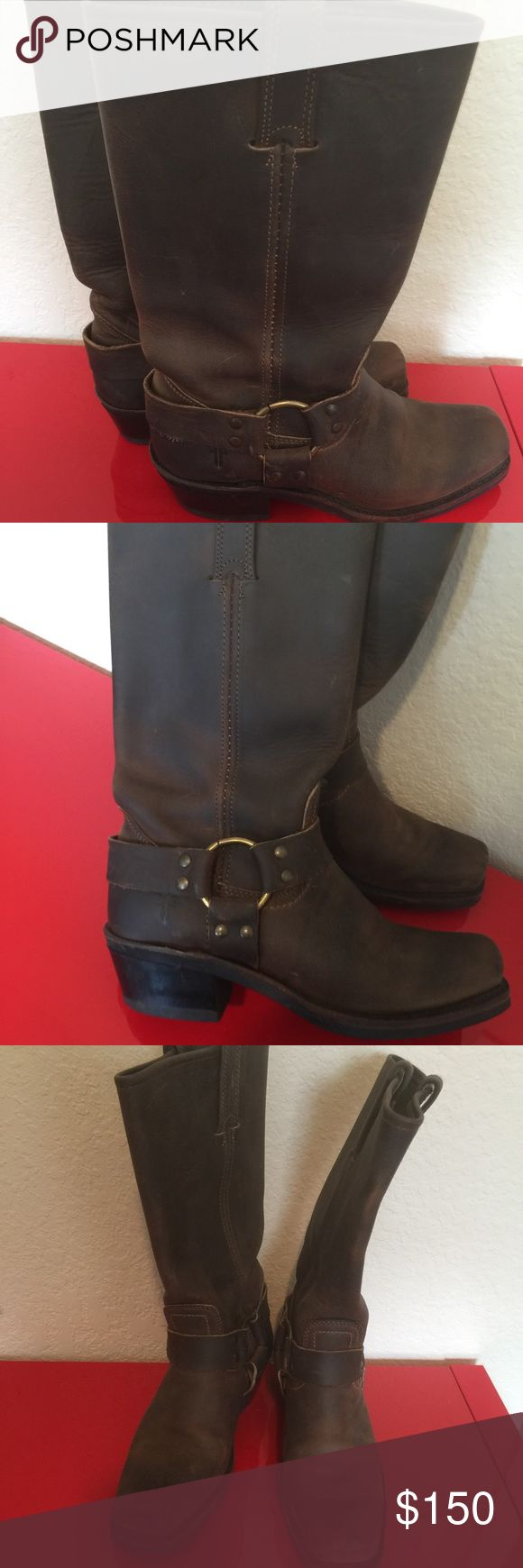Frye harness boots brown 6