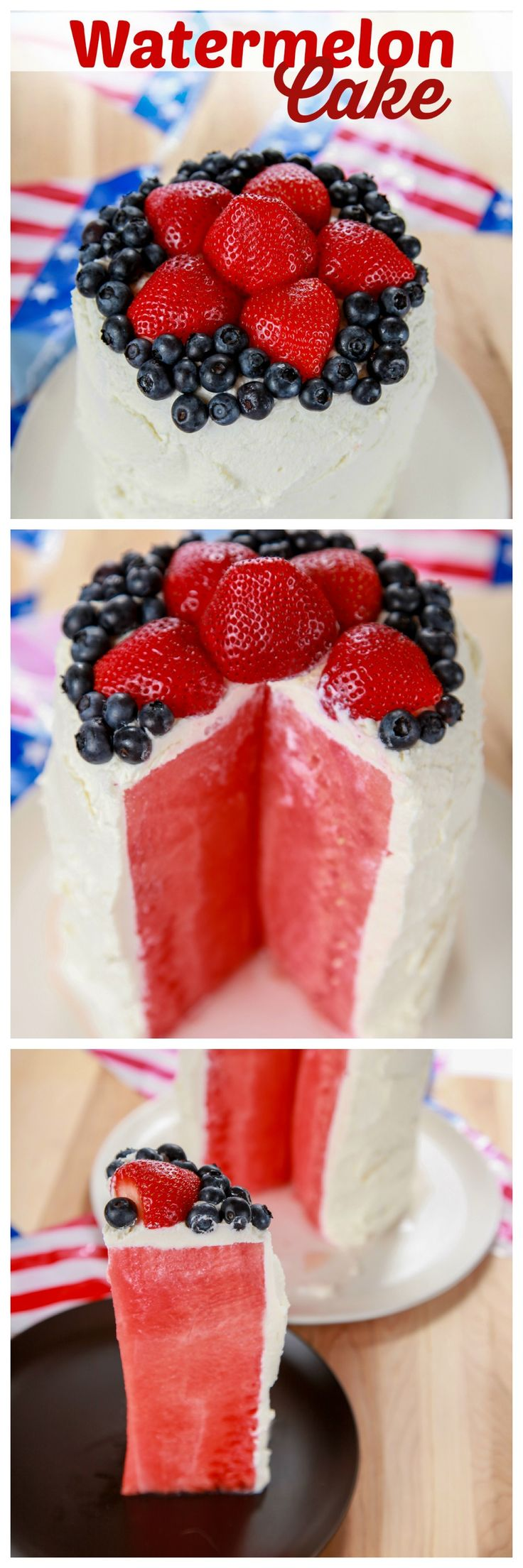 "Juicy watermelon ""cake""  topped with sweetened whipped cream and tart berries."