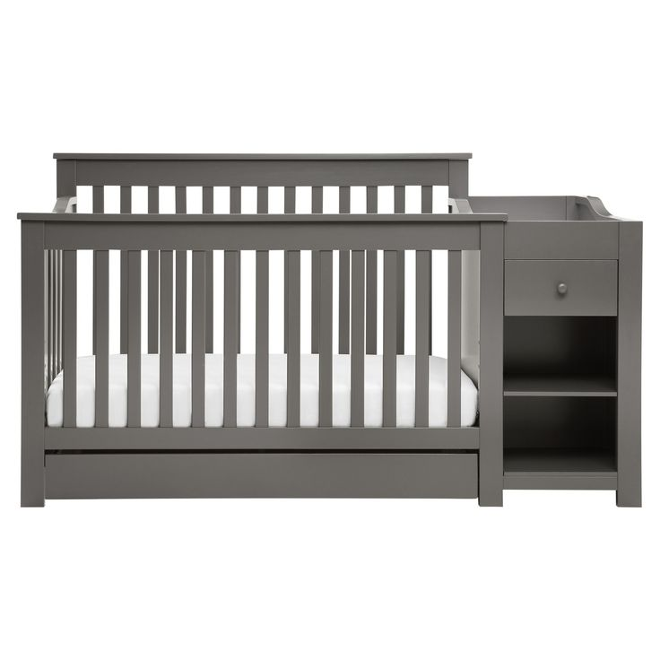The versatile Piedmont 4-in-1 crib is now available in a crib and changer combo. Featuring a large drawer underneath the crib and changing table with one compact drawer and two spacious shelves, this crib offers an abundance of storage space for all of baby's belongings. The crib converts four ways from a full size crib to a toddler bed, to a daybed, to a full size bed (mattress and full size conversion rails sold separately). After converting to a full size bed, the detachable changer wi...