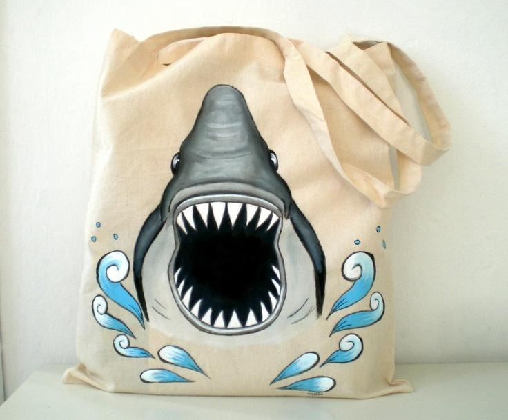 Shark  Tote Bag Hand Paint  Jaws Shark Bag  humor by ShebboDesign, $25.00