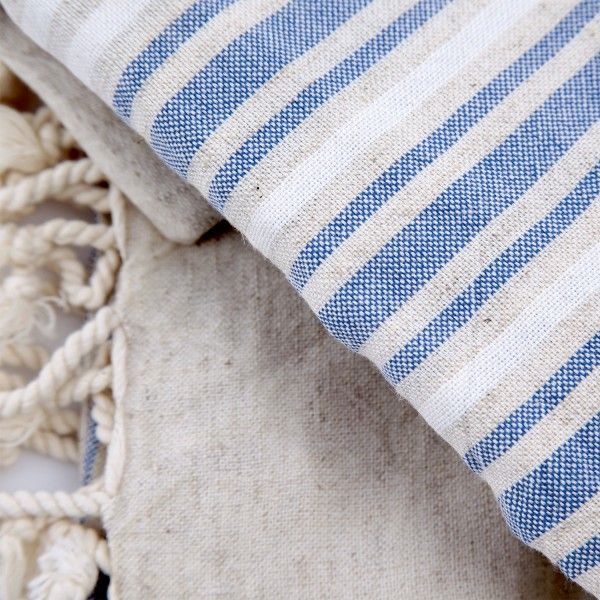 Woven of 50% cotton, 50% linen. The pestemal Turkish bath towel is thin, lighweight, very absorptive and quick drying and so comfy