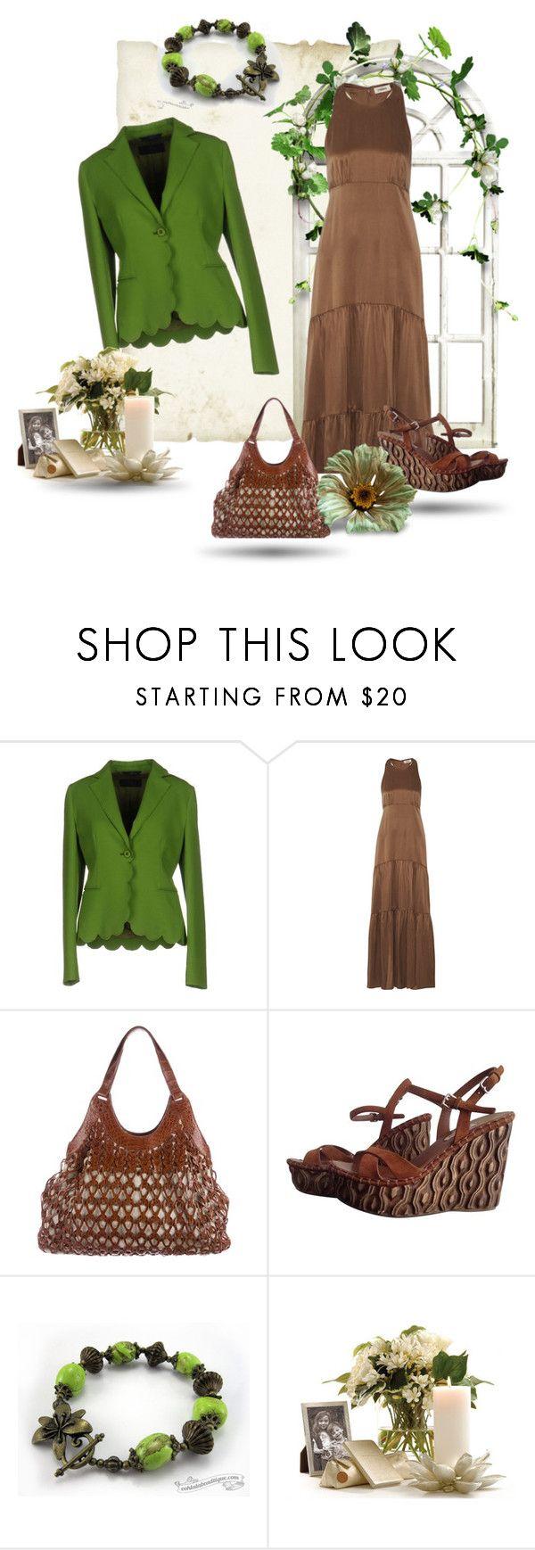 """Brown Maxi Dress Outfit - Jewelry by Ooh-la-la Beadtique"" by ooh-la-la-beadtique ❤ liked on Polyvore featuring Blue Les Copains, L'Agence, Nancy Gonzalez and Miu Miu"