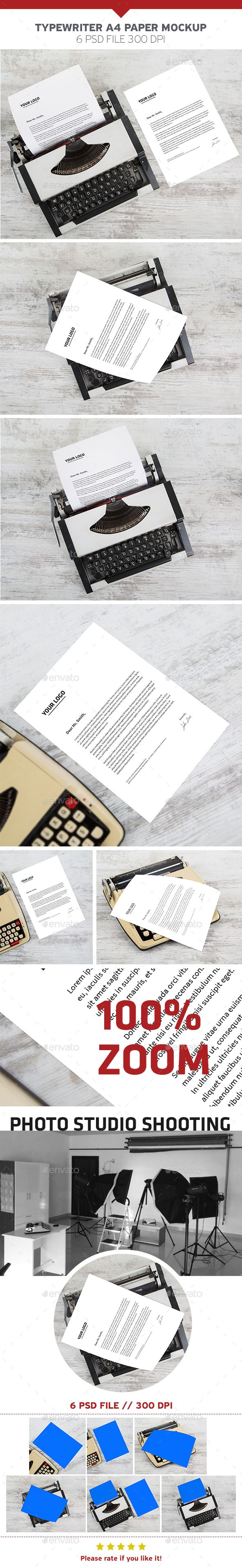 Typewriter A4 Paper #Mockup - #Product Mock-Ups #Graphics Download here: https://graphicriver.net/item/typewriter-a4-paper-mockup/19507895?ref=alena994