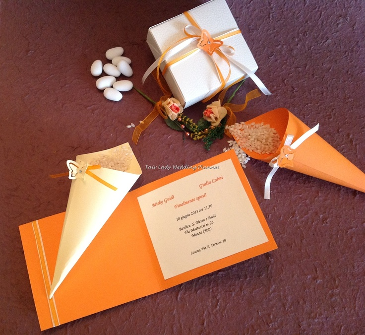coordinated: invitations, cones for rice and candy box